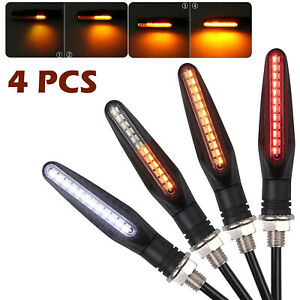 4PCS 24LED Flowing Water Turn Signal Indicator White Red Amber Day Running Light