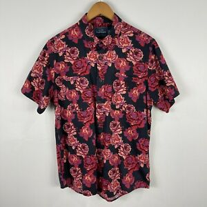 Topman Mens Button Up Shirt Medium Multicoloured Floral Short Sleeve Collared