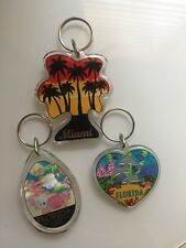 Miami Florida 3 Keychains Keyring Key Keyfob