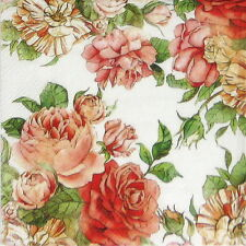 4x Paper Napkins - Rose Garden white- for Party, Decoupage Craft