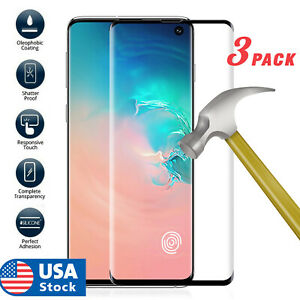 3pcsFor Samsung Galaxy S10 Plus S10e  Cover Tempered Glass Screen Protector Film