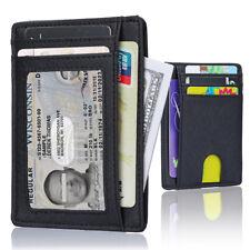 Men Genuine Leather Anti Scan RFID Blocking Credit Card Holder Minimalist Wallet