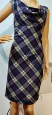 TED BAKER FITTED CHECK DRESS SIZE 2 UK 8  US 4 APPROX PURPLE GREY CREAM