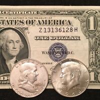 $1 Silver Certificate, Franklin AND Kennedy silver Half Dollars!