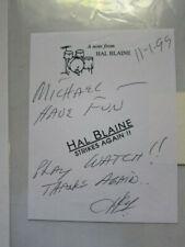 HAL BLAINE  note   AUTOGRAPHED