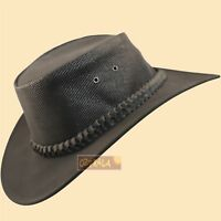 ~oZtrALa~ Kangaroo LEATHER Hat Jacaru Mens Australian Western Cowboy Golf Black