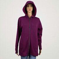 Isaac Mizrahi Live! SOHO Plushed Back Zip Hoodie Jacket SMALL Purple Plum Wine