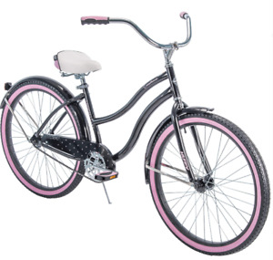 """NEW Huffy 26"""" Cranbrook Women's Cruiser Bike with Perfect Fit Frame Black Pink"""