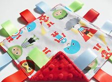Taggie Blanket Baby Super Hero Cotton fabric Handmade Taggy with Red Soft Minky