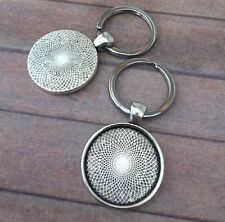 pack of 4 Antique Silver Key Ring with Cabochon setting Cabochon blanks