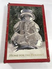 Home For The Holiday Snowman Silver Tone Candy Dish Serving Platter Plate Tray