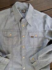 LEE vintage 70s blue denim chambray made USA snap shirt jacket XL