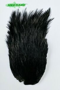 MDI Game Fishing Quality Grade A Dyed Black Indian Cock Cape For Fly Tying K8