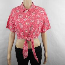8c3e3b925f Vtg Gitano Women s Pink Paisley Short Sleeve Tie Front Button Shirt Sz M  Medium