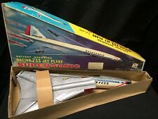 BEST Vintage Boeing 2707 733 Supersonic Jet Plane Litho Steel Battery-Op NOS MIB