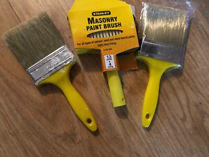 3 Masonry Paint Brushes  -2 new and 1 used