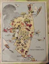 Carte de France Illustrées d'après Pinchon Corse Bastia Maquis Bonifacio