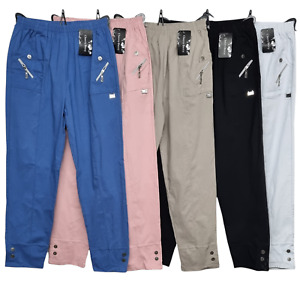New Ladies Full Length Long Cherry Berry Trouser Pant Cotton Stretchy Casual