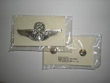 USAF MASTER AIRCREW WINGS BADGE - FULL SIZE - SILVER OXIDIZED - MINT ON CARD