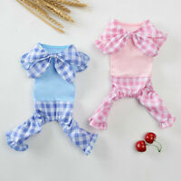 Puppy Pajamas Grid Small Pet Dog Cat Jumpsuit Summer Vest Coat Costume Clothes