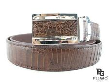 "PELGIO Real Genuine Crocodile Caiman Alligator Skin Leather Belt 46"" Long Brown"