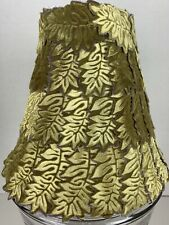 Vintage Flocked Velvet Green Leaf Design Lamp Shade - Sage / Olive Lampshade