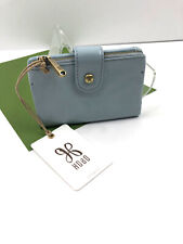 HOBO International RAY Small Leather Wallet Bifold Tab Whispering Blue NWT