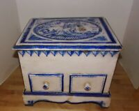 Pine Wood Shabby-Chic Blue & White Painted Top Loading Chest w/Two Drawers