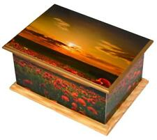 Cremation urn for ashes Funeral Memorial Urn Large wood casket Urn Poppy Sunset