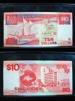 SINGAPORE $10 DOLLARS 1988 SHIP SHARP 906# Currency Bank Money Banknote