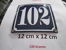 Hausnummer Nr. 102 weisse Zahl auf blauem Hintergrund 12 cm x 12 cm  Emaille