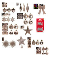 Christmas Tree Ornaments Hanging Baubles Star,Heart,Drops Xmas Decor - Rose Gold