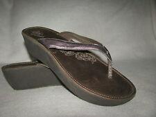 OLUKAI Paniolo Wedge II Women Sz 11 Brown LeatherThong Slip On Sandals EUR 41