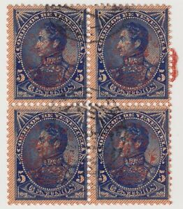 1893 Venezuela - Simon Bolivar - 1882 Overprinted - Block 4 x 5 Centimos Stamps