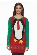 New Womens Long Sleeve Holiday Ugly Christmas Tunic Sweater Size XL