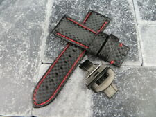 24mm Black Carbon Fiber Leather Strap Band PVD Watch Buckle Set PANERAI RE