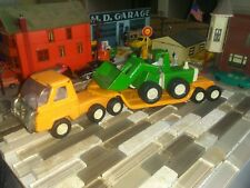 "Buddy L Construction Semi Truck and Trailer Orange Green tractor loaders 10.5""Lg"