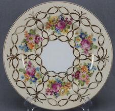 Fischer & Mieg Pirkenhammer Dresden Style Floral & Gold Ribbon Plate C 1918 - 39