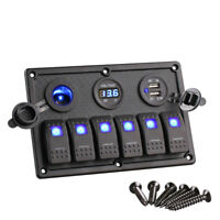 6 Gang LED Rocker Switch Control Panel Circuit Breaker RV Boat Marine Accessory