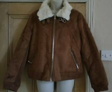 RIVER ISLAND WOMENS LADYS GIRLS BIKER STYLE FAUX SUEDE FUR JACKET COAT. UK 16