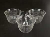 3 Baccarat Crystal Cups, Michelangelo Model, Early XXth Century