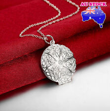 Wholesale 925 Sterling Silver Filled Retro Hollow Lock Round Pendant Necklace