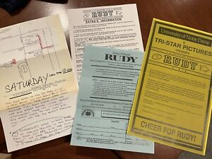 Rudy Movie Ephemera Poster Extra Sheets Premiere Ticket Application Notre Dame
