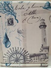 SAIL AWAY BLUE FABRIC SHOWER CURTAIN BY LUXA HOTEL SHELLS LIGHTHOUSE OLD SCRIPT