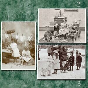 3 5x7 photos Victorian girls with dolls 1900-1910 buggies. Or request digital CD