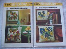 SIMPLICITY 5892 & 5893 NEEDLEPOINT DESIGNS - BUTTERFLIES & IRIS BOUQUET PATTERNS