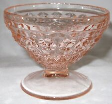 """Jeannette Glass - HOLIDAY - BUTTONS & BOWS - 2 3/4"""" Pink Footed Sherbet"""