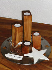 4tlg Holz Kerzenhalter Teelichthalter Tischdeko Adventsdeko Walnuss natur geölt