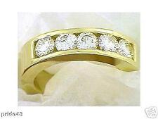 Anniversary 5 Round DIAMOND RING / WEDDING BAND 1.23 carat 14K Yellow Gold VS2