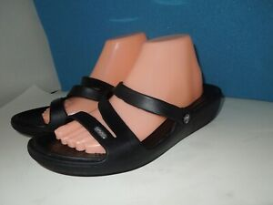 Crocs Women Sz.10 Strappy Black  Slip On  Sandals